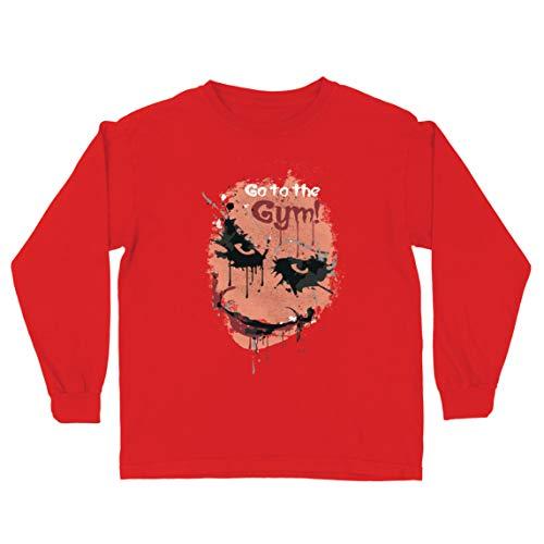 lepni.me Camiseta para Niño/Niña IR al Gimnasio Asustado Cara de Payaso (9-11 Years Rojo Multicolor)