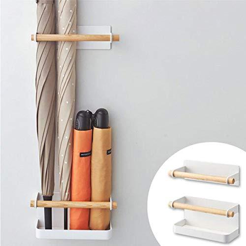 TentHome-Schirmständer Regenschirm Stand Magnet Metall Regenschirmständer Wasserauffangschale Wandmontage Wandschirmständer Weiß für Flur Zuhause Büro