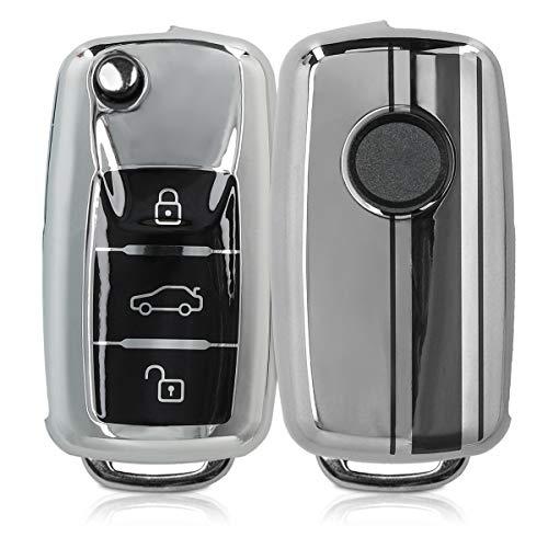 kwmobile Autoschlüssel Hülle kompatibel mit VW Skoda Seat 3-Tasten Autoschlüssel - TPU Schlüsselhülle Cover Rallystreifen Sidelines Schwarz Hochglanz Silber