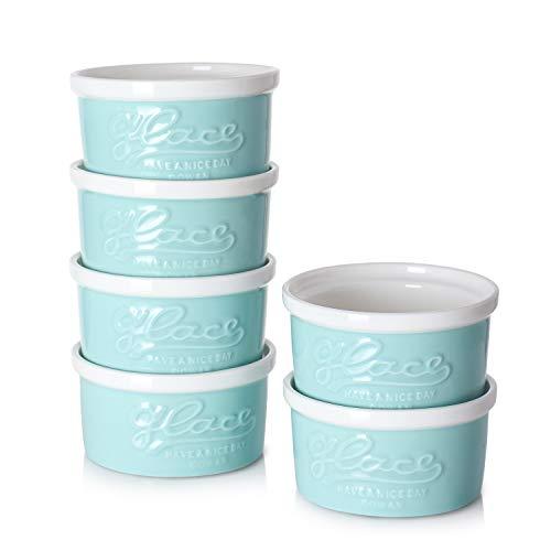 DOWAN 4 Oz Porcelain Ramekins, Mason style Souffle Dishes, Creme Brulee Dishes, Embossed ramekins for baking, Set of 6, Turquoise