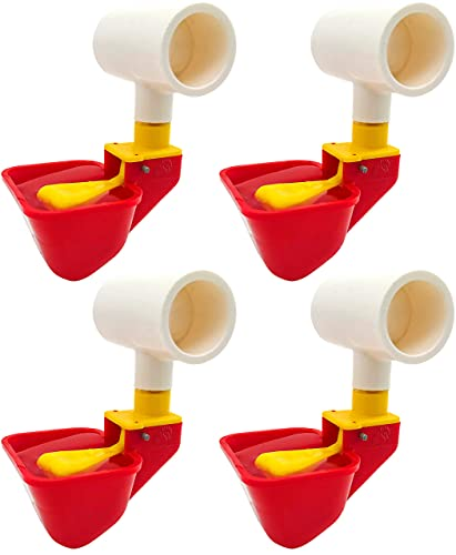 Backyard Barnyard 4 Pack NO PECK Poultry Waterer Drinking Cup with 1/2' PVC Tee Poultry Watering System for Chicken Ducks Quail