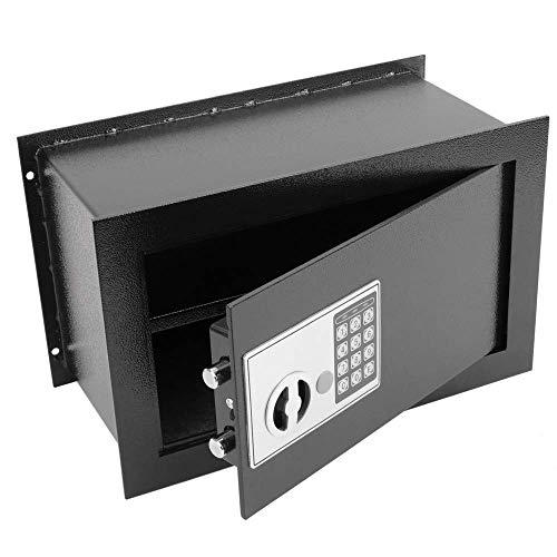 PrimeMatik - Versenkt Wandtresor Stahl Elektronischer Code Mauertresor Möbeltresor 40x20x25cm schwarz