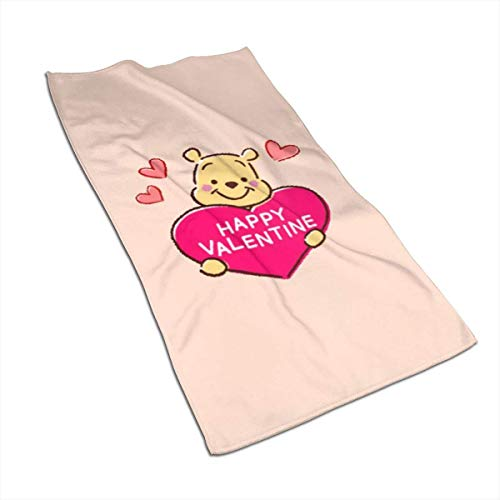 EXking Toallas Winnie Happy Valentine Suave súper Absorbente Toalla de Mano de Secado rápido/Toalla de baño/Toalla de Playa - 27.5 X 17.5 Pulgadas