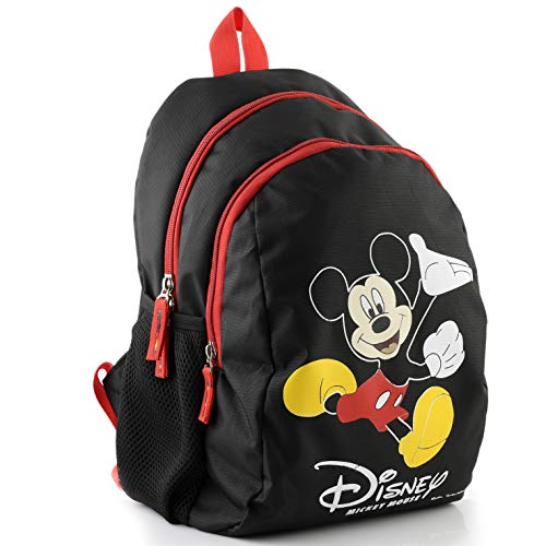 Kuber Industries Disney Mickey Mouse 15 inch Polyster School Bag/Backpack for Kids, Black-DISNEY013