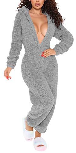 Womens Super Soft Teddy with Hood & Ears, Cosplay Pyjama Jumpsuit Playsuit Ladies Sherpa Fleece Animal Hooded All in One Overalls Sleepwear (Grey, M)