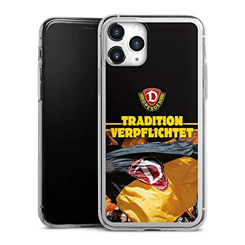 Slim Case extra dünn kompatibel mit Apple iPhone 11 Pro Silikon Handyhülle transparent Hülle SG Dynamo Dresden Fanartikel SGD