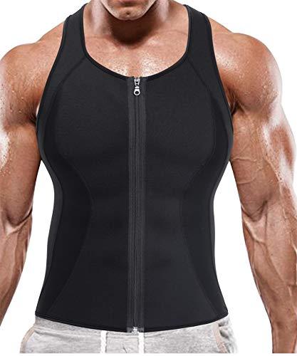 BRABIC Hot Sauna Sweat Suits,Zipper Closure Tank Top Shirt for Weight Lost,Waist Trainer Vest Slim Belt Workout Fitness-Breathable, Neoprene Fabric (Black Sauna Tank Top, XL) Alabama