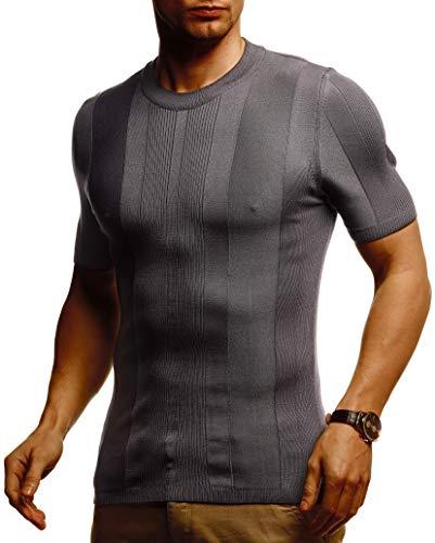 Leif Nelson Herren Sommer T-Shirt Rundhals Ausschnitt Slim Fit aus Feinstrick Cooles Basic Männer T-Shirt Crew Neck Jungen Kurzarmshirt O-Neck Sweater Shirt Kurzarm Lang LN7455 D.Dunkel Grau XX-Large