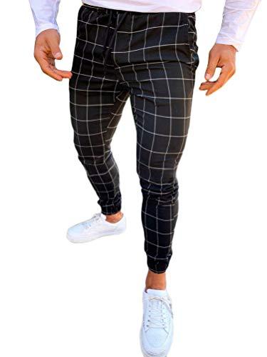 OranDesigne Herren Freizeithose Karierte Hose Streetwear Lang Pants Sporthosen Trainingshose Sweatpants mit Gummibund Schwarz XS
