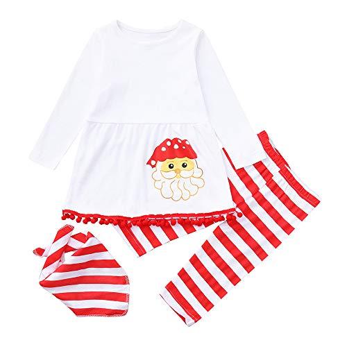 Longra babyjurk, meisjes, Kerstmis, schattige jurk, Kerstman, bedrukt, lange mouwen, ronde hals, baljurk, kort, jurk en gestreept, lange broek en sjaal set