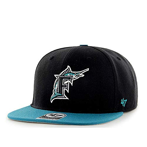 47 Brand Florida Marlins No Shot Captain Snapback MLB Cap, Grün,Schwarz, Taglia unica