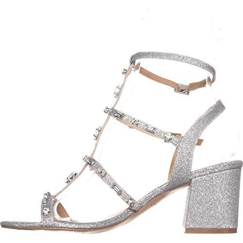 Badgley Mischka Womens Ana Open Toe Ankle Strap, Silver Glitter, Size 7.0