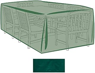 Plow & Hearth Outdoor Furniture All-Weather Cover for X-Large Rectangle Table & Chairs - Green…