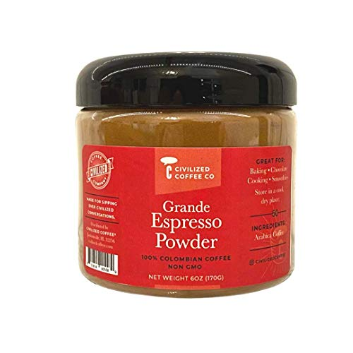 Civilized Coffee Grande Espresso Powder for Baking & Smoothies Non-GMO, Gluten Free, 100% Arabica Coffee Jar (6 oz)