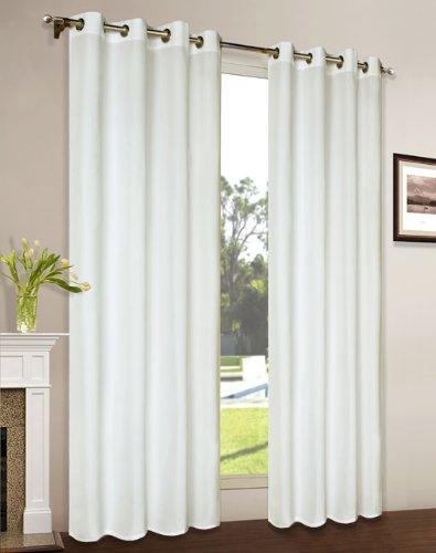 Vorhang Blickdicht Schal, 2 Stück 245x140 (HxB) Matte unifarbene Gardine mit Ösen, Creme Material aus Microsatin Micofaser-Gewebe, 204050
