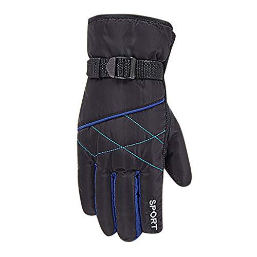 CapsA Men Full Finger Winter Ski Thermal Cycling Gloves Touch Screen Slicon Pading Motorcycle Bicycle Bike Sport Warm Gloves Driving Water-Splashing Anti-Skid Outdoor Gloves (Black)
