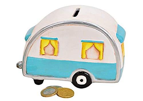 Topshop24you wunderchöne Spardose Wohnwagen Wohnanhänger Campingkasse Campingfahrzeug blau/weiß mit Gummipfropfen aus Keramik