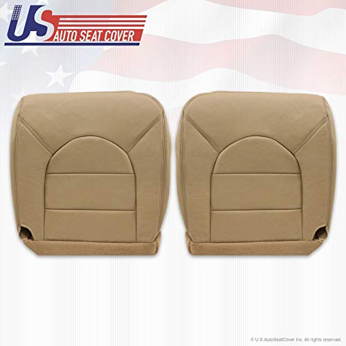 99 Compatible with Ford F350 Lariat Driver & Passenger Bottom Replacement Leather Seat Cover Tan
