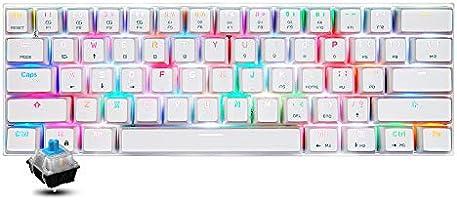 Motospeed CK62 Mechanisch toetsenbord met 61 toetsen, RGB-lichteffecten, USB-kabel, BT Dual Mode Gaming toetsenbord