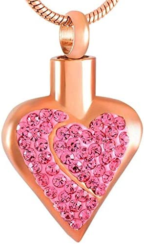 Urns Ashes Funeral Stainless Steel Ashes Crystal Heart Decoration Jewelry Heart Shaped Pendant Necklace Souvenir Jewelry Style B Pet Memorial Dog cat Urn
