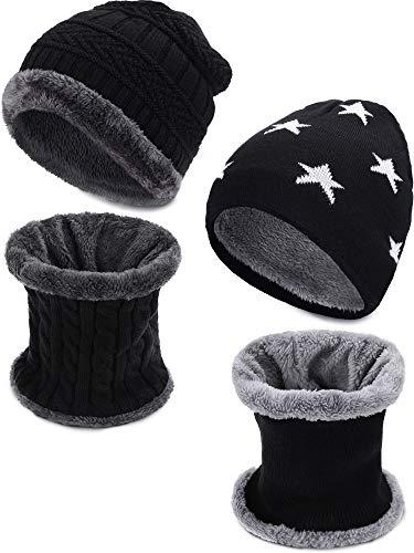 Leinuosen 4 Pezzi Bambini Cappello Inverno Sciarpa Set Pelliccia a Maglia Cranio Cappuccio e Scaldacollo per Le Giornate Fredde (Nero)