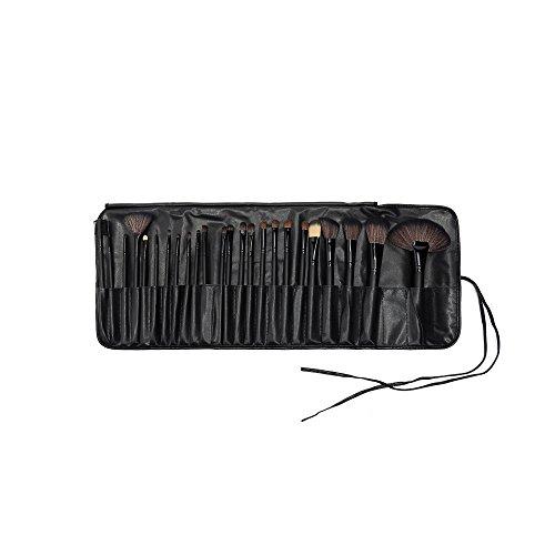 24pcs Pinceaux de Maquillage Professionnel Avec Eponge Noir