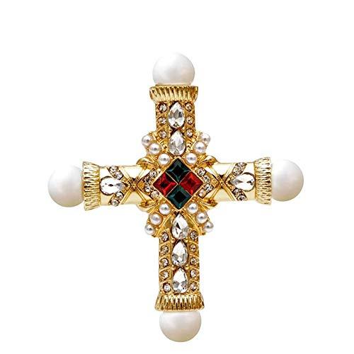 LOSAYM Broches Y Alfileres para Mujer Broche Cruzado De Diamantes De Imitación De Perlas Mujeres