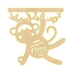 """Wandlampe""""Affe"""" Kinderzimmer personalisierte Lampe mit Namen Nachtlicht Leuchte LED Wandleuchte Dekoration Holz Jungen Mädchen Baby Geschenk Set Schlummerlicht"""