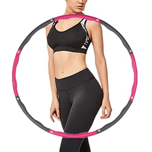 FCREW Hula Hoop zur Gewichtsreduktion,Reifen mit Schaumstoff Gewichten Einstellbar Breit 48–95 cm beschwerter Hula-Hoop-Reifen für Fitness - Rose und Grau
