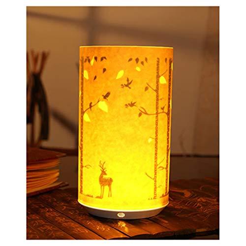 Luz de Noche, luz de Dormitorio mesita de Noche portátil lámpara de Ahorro de energía Control Remoto por Infrarrojos pergamino Talla luz de Noche-Forest Deer