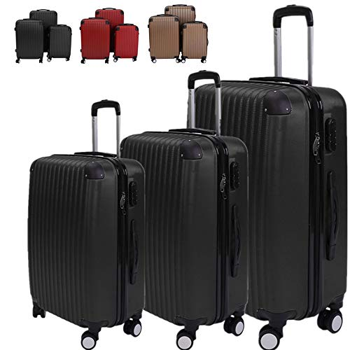 "3 Pcs Luggage Set, Hard Shell Suitcase with 360 Degree Silent Rubber Roller, Business Trip Trolley Case 21"" 24"" 29"""