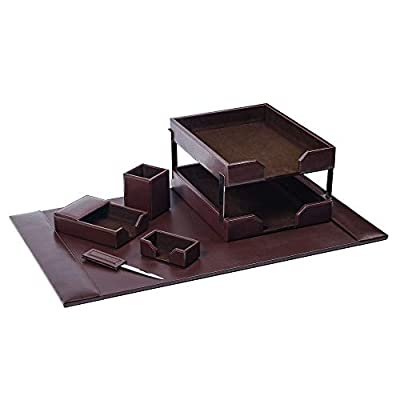 brown leather desk set