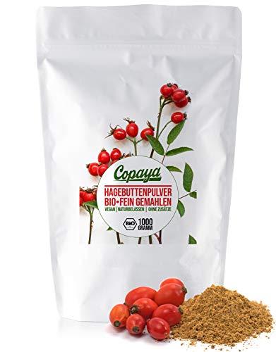 Copaya Bio Hagebuttenpulver 1kg, ganze gemahlene Hagebutten aus kontrolliert biologischem Anbau im Aromabeutel 1000g