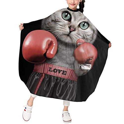 Divertido Boxing Cat Barber Salon Cape Delantal para peinado Corte de cabello Peluquería Profesión Barbershop Supplies Bib Kit Child Kids