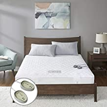 MP2 Heated Mattress Pad King with 5 Heat Settings and 10 Hours Auto Shut Off Dual Controllers Electric Mattress Cover | Fit up to 18