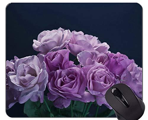 Yanteng Alfombrilla de ratón de Caucho Natural Impresa con Flores Encantadoras, Rosas Naturales - Bordes cosidos