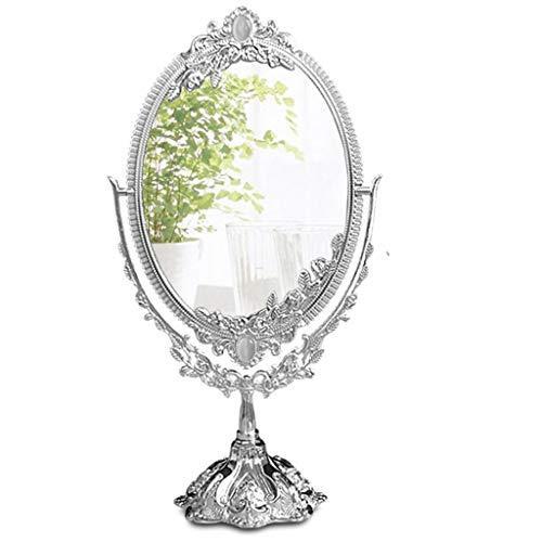 Espejo Maquillaje Espejo Cosmético Clásico antiguo antiguo tallado espejo de doble cara, Espejo de maquillaje, Espejo de aumento del espejo de vanidad Mejor for la mesa del baño Espejo Maquillaje Espe