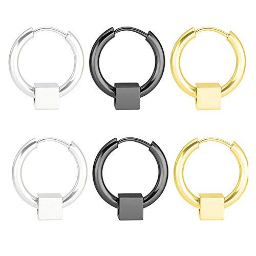 Daesar 3Pares Circulo con Cuadrado 16MM Pendiente Aro Titanio Hombre Plata Negro Oro