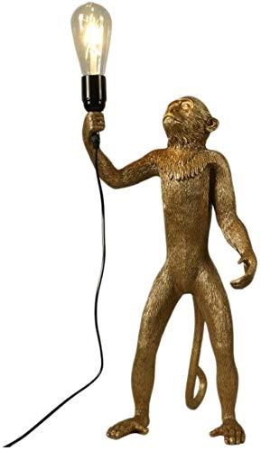 Lámparas de mesa de resina creativas, lámpara de mesa de pie enchufable con iluminación decorativa de mono de pie de animal negro/dorado/blanco Led nórdico moderno-Oro