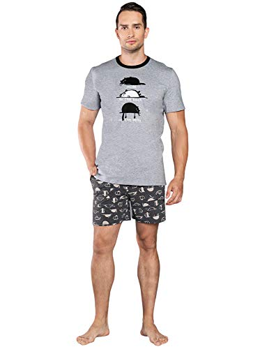 Italian Fashion Set Männerpyjama Zweiteiler Kurzarm Herrenhausanzug (M, Melange)