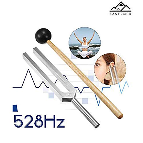 EastRock 528 Hz Tuning Fork with Silicone Hammer and Cleaning Cloth,Clinical Grade Nerve/Sensory for Perfect Healing Musical Instrument and Stress Reliever Tuning Fork