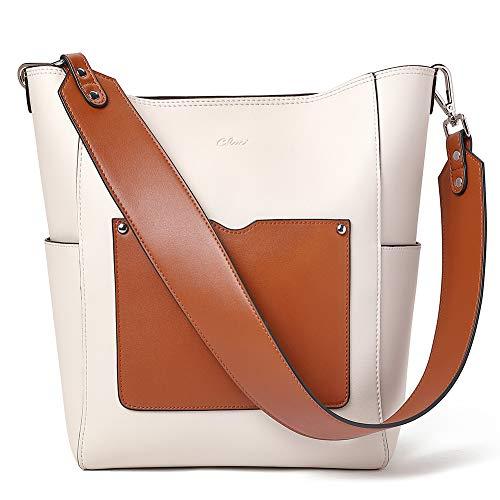 CLUCI Purse for Women Leather Hobo Handbag Large Designer Fashion Tote Bucket Ladies Shoulder Bag Beige with Brown