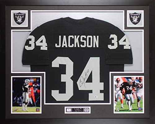 Bo Jackson Autographed Black Raiders Jersey - Beautifully Matted and Framed - Hand Signed By Bo Jackson and Certified Authentic by Beckett - Includes Certificate of Authenticity