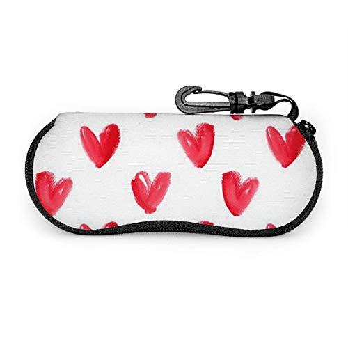 AEMAPE Funda de anteojos con cremallera y estuche blando de amor pintado de color rojo con clip para cinturón
