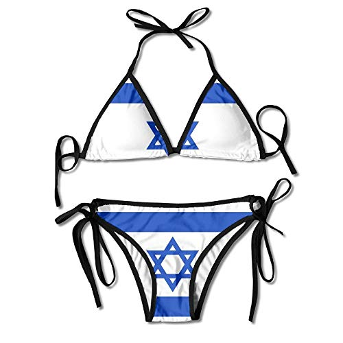 Flag of Israel Womens Wrap Top Bottom Bathing Suit Bikini Swimwear Two Piece Sexy Swimsuit One Size
