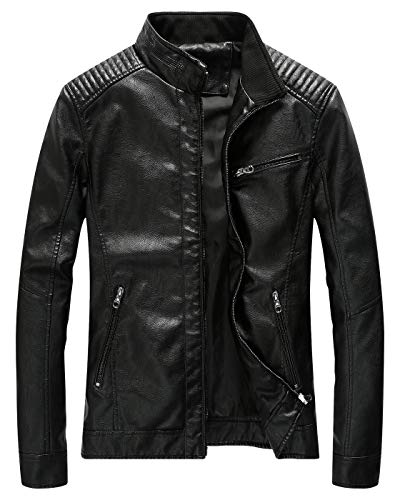 Fairylinks Leather Jacket Men Slim Fit Motorcyle Lightweight ,Black,Large