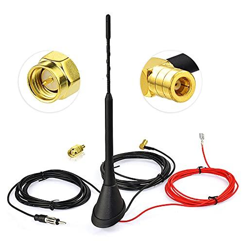 Eightwood Aktive DAB+ Antenne Digital Radio FM/AM Kombi DAB Antenne SMB Stecker DIN Male Adapter Auto Radio Antenne Splitter Fahrzeug Dachmontage Signal Amplifier 500cm 16.4ft Flexible 23cm MEHRWEG