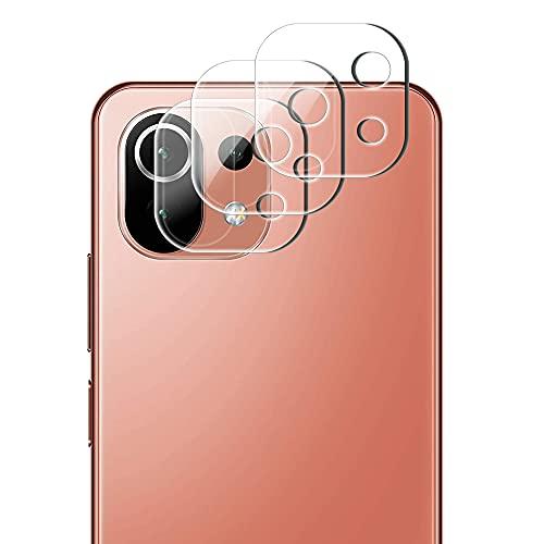 Yiunssy Cámara Trasera Lente para Xiaomi Mi 11 Lite (3 Piezas), Alta definición/9H de Dureza/2.5D,Protector Cámara Cristal Templado para SXiaomi Mi 11 Lite