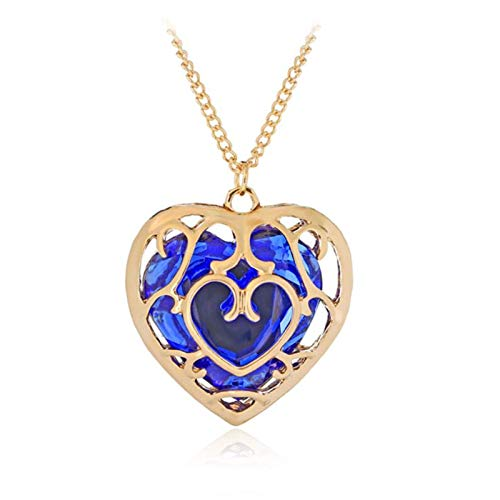 XinLuMing Espada Hohltherz Cristal Collar Contenedor Cosplay Creado Sapphire Ruby Big Heart Colgante Anime Jewelry Día de San Valentín Regalos para Mujer Chica (Color : Blue)