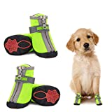 Dog Shoes for Small Dogs Winter Snow Dog Booties Open with Zips and Rugged Anti-Slip Sole Paw - Reflective Sports Running Hiking Pet Dog Boots - Protectors Comfortable Suitable for Medium Small Dogs